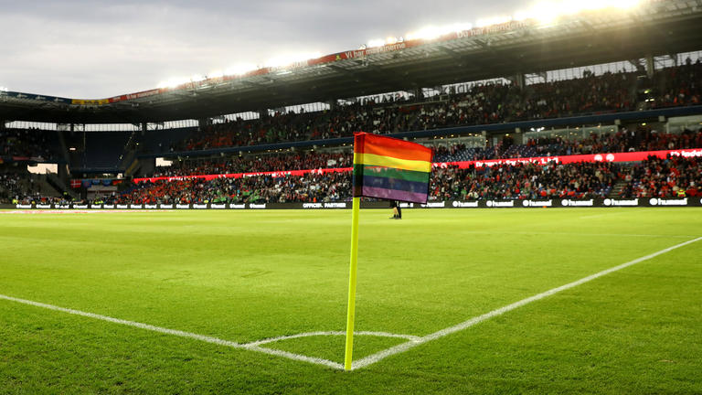 A rainbow flag as corner flag as a symbol against homophobia pictured during the international soccer match between Denmark and Germany at the Brondby Stadium in Brondby, close to Copenhagen, Denmark, 06 June 2017. Photo: Christian Charisius/dpa
